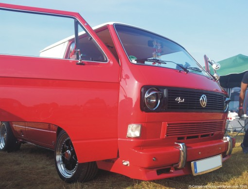 Red and white T3/T25 double cabin with Audi V8 engine.