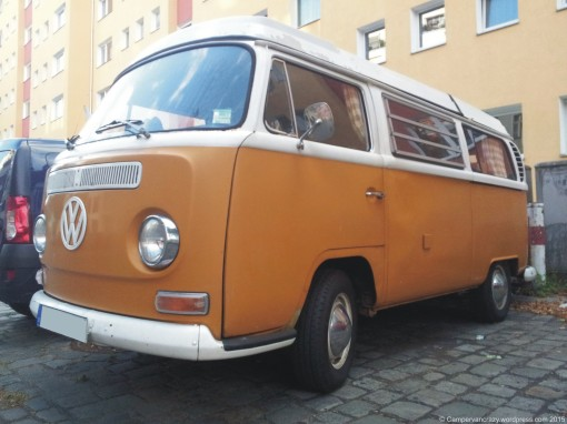 Early bay window (T2a) Westfalia camper from 1971 or 72, spotted 2012 in Berlin.